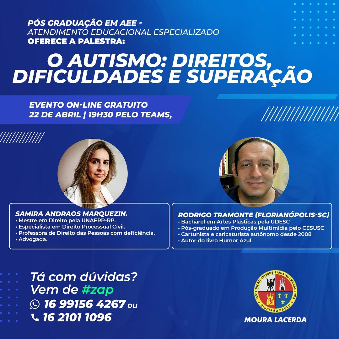 Palestra: O autismo: direitos, dificuldades e superação